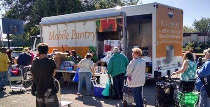 Gleaners Food Bank of Indiana Mobile Pantry Program brings pantry on wheels to seniors in Wayne County, Indiana.