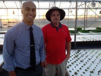 (From left to right) Chaz Shelton and Bill Shriver, co-founders of Tucson, AZ-based Merchant's Garden, an urban farming enterprise utilizing hydroponics and aquaponics to increase access to healthy food in cities. Photo Courtesy of Merchant's Garden.
