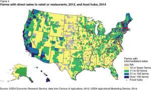 This map shows the number of farms with direct sales to restaurants and/or retail establishments as of 2012, and the locations of food hubs as of 2014. (image courtesy of Gary Matteson/Farm Credit Council)