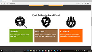 A screenshot of the Local Local website features three of its key features: searching for, discovering, and connecting with food businesses that provide local fare. (image courtesy Reed Shelger/Local Local)