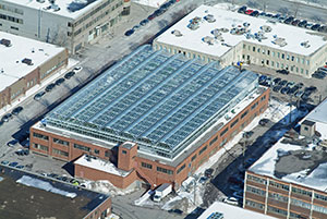 Lufa Farms rooftop greenhouse in Montreal is seen from overhead. Photo courtesy of Lufa Farms photo)