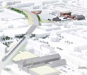 Aerial rendering of the Baltimore Food Hub, located on the east side of the city. Image courtesy of Ziger/Snead Architects