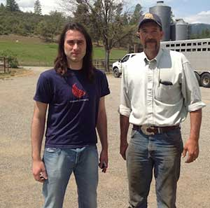 Farmeron co-founder Matija Kopic (left) with fourth generation farmer and rancher Jeff Fowle of Etna, California (photo by Dave Saunders Director of Sales and Business Development, Farmeron)