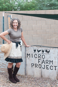 Kari Spencer at the Micro Farm. Courtesy of Kari Spencer.