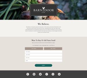 Screenshot, barn2door home page.