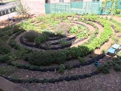 The Living Labyrinth at Edendale Grove Parish Garden constructed with the help of non-profit Our Foods is part of Seeds of Hope. Photo Credit: Seeds of Hope.