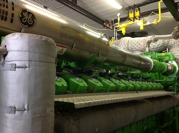 The GE J624 Two-Stage Turbocharged Gas Engine at Houweling's supplies power and heat to the company's greenhouse providing both lower carbon dioxide emissions and increased overall efficiency of over 90 Percent