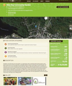 A screenshot of the Maine Food Atlas shows vital information for a participating garden. (image courtesy Ken Morse/The Maine Food Atlas)
