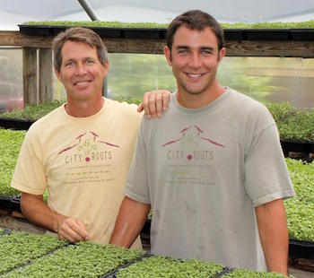 (From left to right) Father and son team, Robbie and Eric McClam, run City Roots, the first urban farm in South Carolina. Photo credit: City Roots.