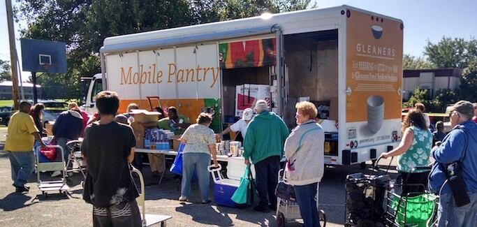Gleaners Food Bank of Indiana Mobile Pantry Program brings pantry on wheels to seniors in Wayne County, Indiana.