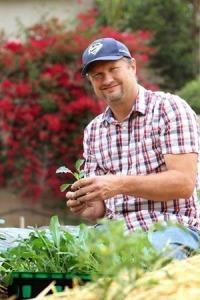 Urban Farmer Scott Berndt of Fox Farm with his produce. Photo courtesy of Scott Berndt.