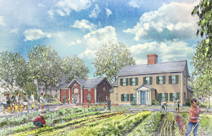An architect's rendering of the project at Fowler Clark Epstein farm. Courtesy of Fowler Clark Farm Design:  Studio G Architects, Rendering: Jeff Stikeman Architectural Art