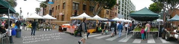 Panoramic shot of the storied Santa Monica Farmers Market. Photo Credit: Santa Monica Farmers Market