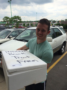 Michael Noeske, co-founder of Detroit Seafood Partners, delivers a container of locally-raised seafood. (photo courtesy of Michael Noeske)