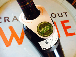The Lodi Rules Certified Green label adorns a bottle of wine. Photo courtesy of Lodi Winegrape Commission.