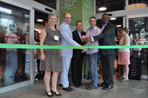 At the recent ribbon cutting of the Sugar Beet Food Co-op in Oak Park, Illinois were (from left) founder Cheryl Muñoz, State Senator Don Harmon, Oak Park Village President Anan Abu Taleb, Trustee Bob Tucker and Cook County Commissioner Richard Boykin. (photo courtesy Cheryl Muñoz/Sugar Beet Food Co-op)