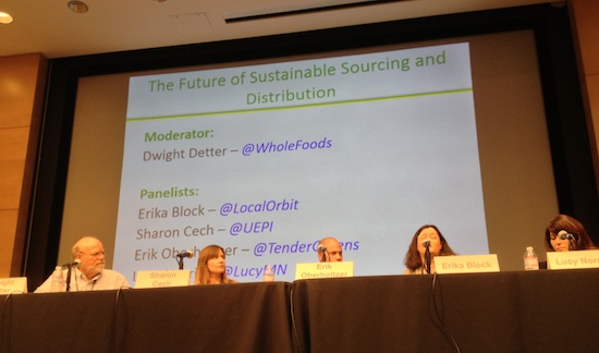 The Future of Sustainable Agriculture Distribution and Sourcing panel moderated by Dwight Detter of Whole Foods Market.
